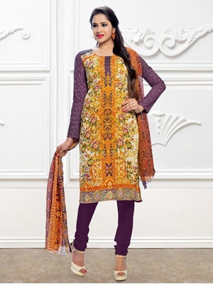 Picture of 3001Ivory and Multicolor Printed Pure Cotton Party Wear Pakistani Style Indian Suit