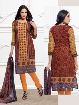 Picture of 3009Orange and Multicolor Printed Pure Cotton Party Wear Pakistani Style Indian Suit