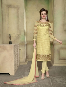 Picture of 2008Yellow Georgette with Schiffli Work Party Wear Straight Suit