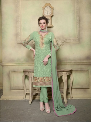 Picture of 2006LightGreen Georgette with Schiffli Work Party Wear Straight Suit