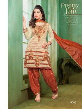 Picture of 9003Cream and Brown Embroidered Chanderi Occassional Wear Patiala Suit