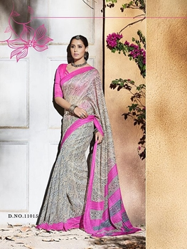 Picture of 11015DeepPink and Multicolor Daily Wear Printed Silk Saree with Blouse Piece