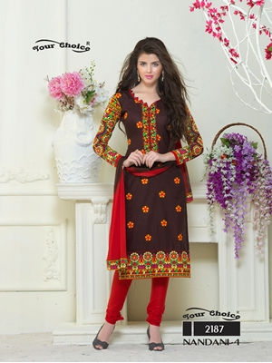 Picture of 2187DarkChocolate and Red Embroidered Glace Cotton Ocassional Wear Straight Suit