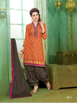 Picture of 9011 Orange Patiala Suit