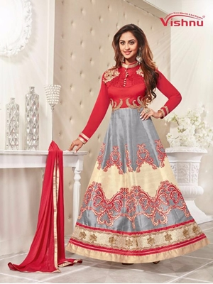 Picture of 75005Red and Gray Printed Bhagalpuri with Embroidered Patch Party Wear Anarkali Suit