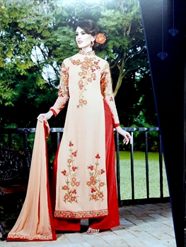 Picture of 13001Skin and Red Embroidered Georgette Party Wear Palazzo Suit