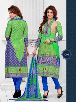 Picture of 1005MintGreen and Blue Embroidered Pure Cambric Cotton Casual Wear Chudidar Suit