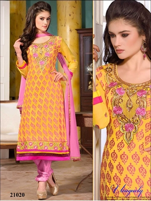 Picture of 21020 Yellow Designer Straight Suit