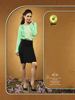 Picture of 022AquaMarin Viscose Moss Crepe Party Wear Kurti