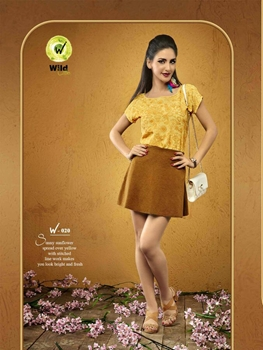 Picture of 020Yellow Viscose Moss Crepe Party Wear Kurti