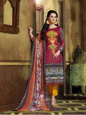 Picture of 9007Multicolor and Yellow Printed Pakistani Suit