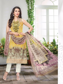 Picture of 029GoldenYellow and Multicolor Printed Pure Lawn Daily Wear Pakistani Style Indian Suit