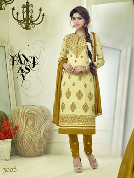 Picture of 3005Yellow and DarkYellow Embroidered Glace Cotton Daily Wear Straight Suit