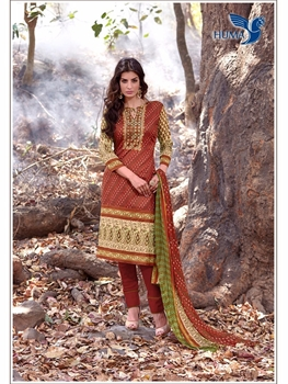 Picture of 4003Brown and Ivory Printed Cambric Salwar Suit