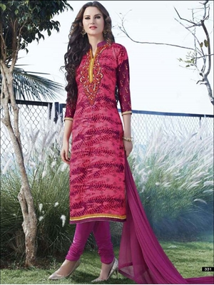 Picture of 331DeepPink and Magenta Printed Embroidered Glace Cotton Daily Wear Straight Suit