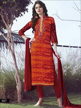 Picture of 327Orange and Maroon Printed Embroidered Glace Cotton Daily Wear Straight Suit