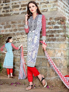 Picture of 006SlateBlue and Red Printed Pure Cotton Long Concept Daily Wear Salwar Suit