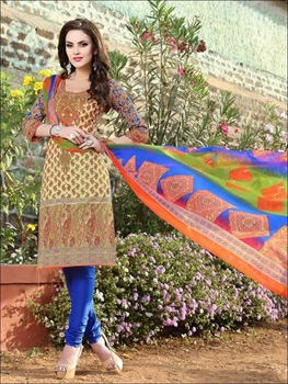 Picture of 005Ivory and Multicolor Printed Pure Cotton Long Concept Daily Wear Salwar Suit