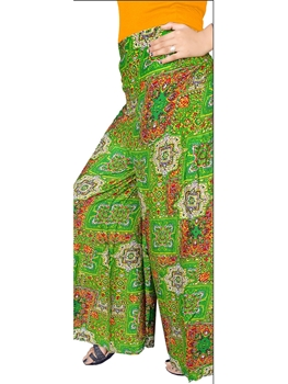Picture of 6056D Green and Multicolored Printed Stitched Palazzo