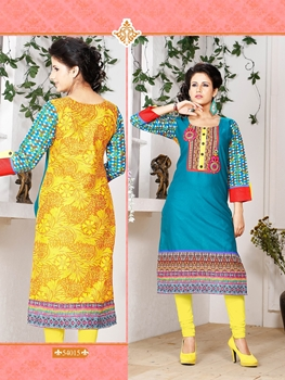Picture of 54015BlueGreen and Multicolor Embroidered Printed Cotton Party Wear Stitched Kurti
