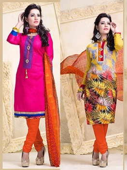 Picture of 18003 Designer Magenta and Yellow Salwar Suit