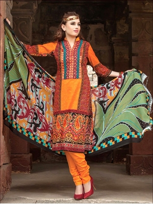 Picture of 0008Orange and Red Printed Cambric with Neck Work Daily Wear Designer Suit