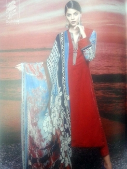 Picture of 02Red and SkyBlue Cotton Satin Jacquard Party Wear Straight Suit