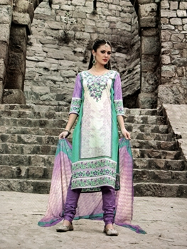 Picture of 1009White and Multicolor Printed Cotton Daily Wear Straight Suit