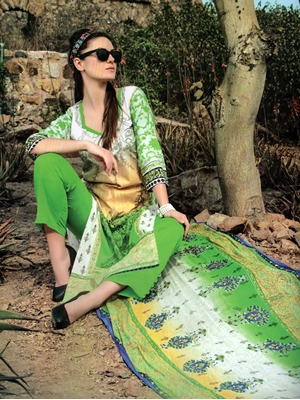Picture of 1002ParrotGreen and White Printed Cotton Daily Wear Straight Suit