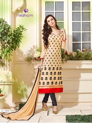 Picture of 4010Ivory and Black Embroidered Glace Cotton Party Wear Straight Suit