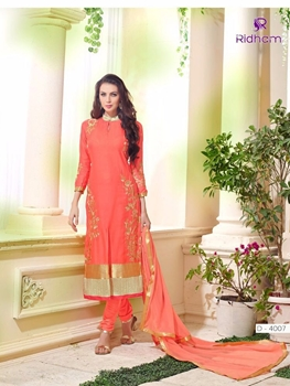 Picture of 4007CarrotRed and Golden Embroidered Glace Cotton Party Wear Straight Suit