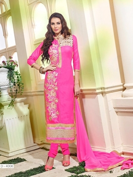 Picture of 4006Magneta and Ivory Embroidered Glace Cotton Party Wear Straight Suit