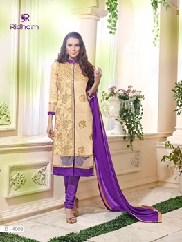 Picture of 4003SandyBrown and Indigo Embroidered Glace Cotton Party Wear Straight Suit