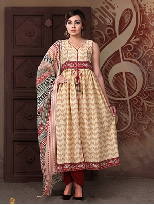 Picture of 11Beige and CornellRed Cotton Satin Party Wear/Daily Wear Designer Suit