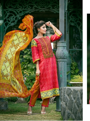 Picture of 83Red and Yellow Embroidered Printed Cotton Daily Wear Straight Suit