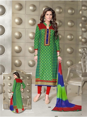 Picture of 61006Green Red and Blue Cotton Party Wear/Daily Wear Straight Suit