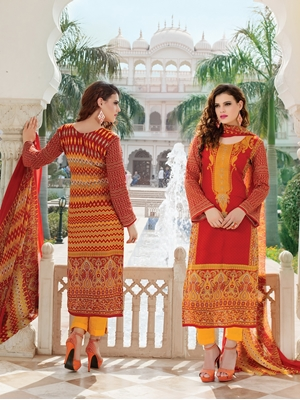 Picture of 1011Red and TurmericYellow Party Wear Printed Pure Glace Satin Cotton Straight Suit