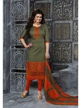 Picture of 58011 Mehandi Green Designer Straight Suit