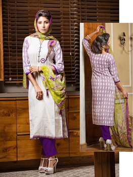 Picture of 76White and DeepPurple Party Wear Embroidered Cotton Khadi Pakistani Style Indian Suit
