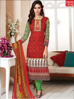 Picture of 908Red and ParrotGreen Daily Wear Printed Pure Cotton Straight Suit