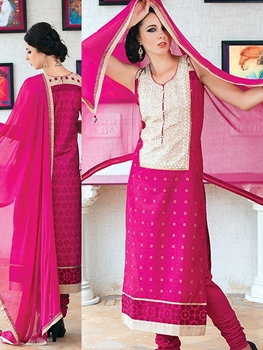 Picture of 921C Pink Cream and Beige Cotton Party Wear/Daily Wear Straight Suit