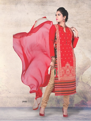 Picture of 2940TomatoRed and Beige Printed Cotton Daily Wear Straight Suit