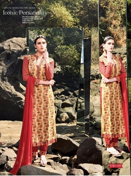 Picture of 1007Red and LightYellow Faux Georgette Party Wear Straight Suit