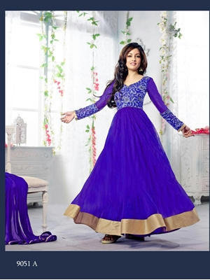 Picture of 9051A RoyalBlue and Golden Georgette Party Wear Anarkali Suit
