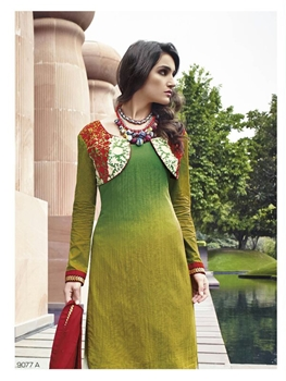 Picture of 9077A Green and Red Cotton Satin Party Wear Plazo Suit