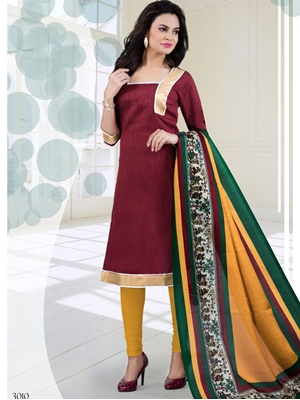 Picture of 3010Maroon and TurmericYellow Bhagalpuri Daily Wear Chudidar Suit