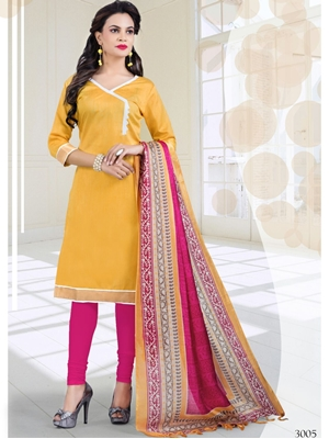 Picture of 3005Yellow and Pink Bhagalpuri Daily Wear Chudidar Suit