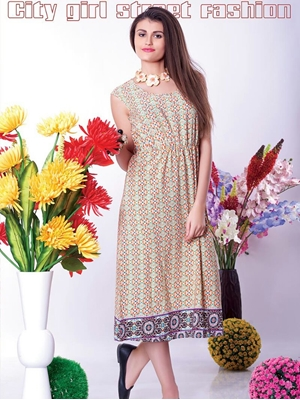 Picture of 9007LightYellow Red and Blue Party Wear Kurti