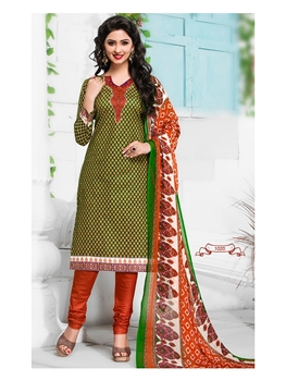 Picture of 1016Green Yellow and Orange Cambric Cotton Daily Wear Straight Suit