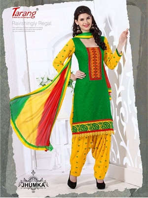 Picture of 107 Green and Yellow Designer Patiyala Suit